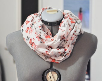 Infinity scarf white scarf patterned butterflies