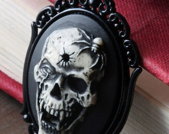 Cameo Necklace. Vampire Skull, Victorian Vintage Inspired jewellery