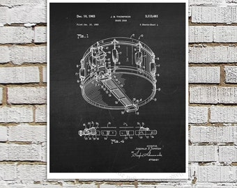 Snare Drum Patent Art on chalkboard background - Music room Decor, Musician Wall Decor, Gift for Drummer, Drummer Decor idea, Wall Art