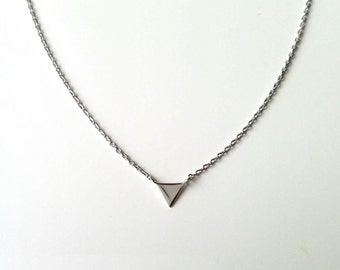 Necklace solid silver triangle 925/000 - jewel pattern triangle, pyramid, adjustable size - sterling silver 925