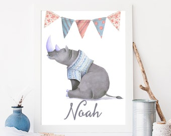 Custom name print boy nursery art printable Rhino in jumper personalised print instant download cute wild animal poster