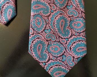 Retro / Vintage Ensign Pink and Blue  Paisley Tie