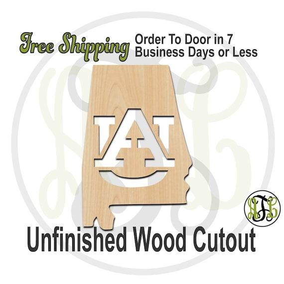 Alabama State with Interlocking A and U - 60112- School Spirit Cutout, unfinished, wood cutout, wood craft, laser cut, wood cut out, wooden