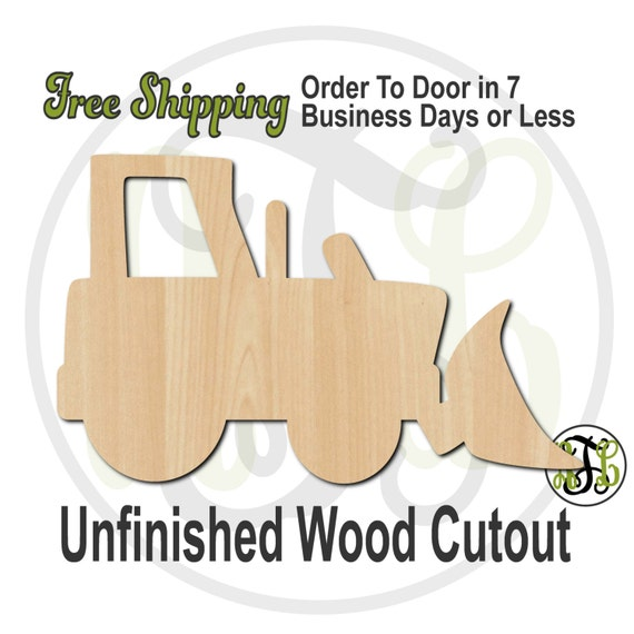 Bulldozer - 10026- Cutout, unfinished, wood cutout, wood craft, laser cut shape, wood cut out, Door Hanger, Construction, wooden