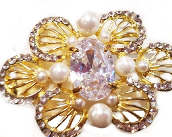 New Gold Clear CZ  Crystal  & Pearl Floral Gold 3 ''  Hair Claw Clip