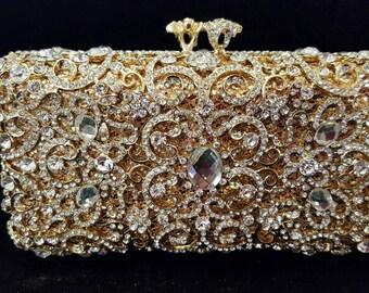 New Gold With Austrian Crystal  & Rhinestone-Hard Shell Clutch Evening Handbag