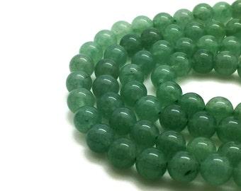 Round Natural Green Aventurine Beads Strand 4∼10mm Green Stone Stone Green Beads Mala Green Beads Green Stone Mala