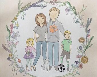 7-8 People/Pets Custom Family Portrait Illustration