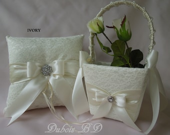 Ivory or White ring bearer pillow and flower girl basket 2 pcs. set, Wedding lace ring pillow, Lace flower girl basket, Ivory pillow