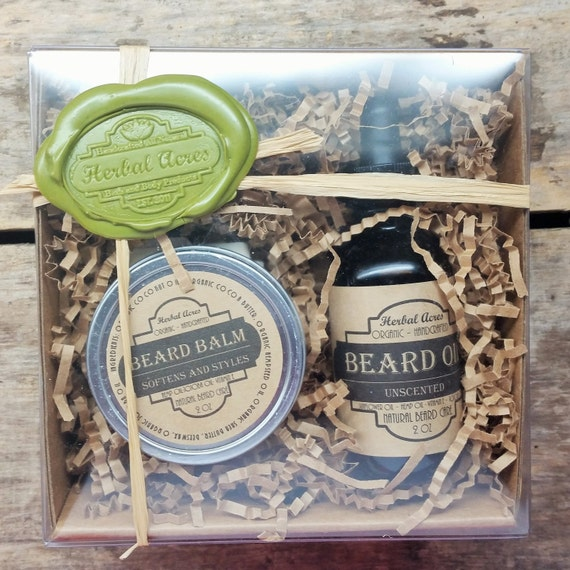 beard oil and balm gift box set beard oil and by herbalacressoap. Black Bedroom Furniture Sets. Home Design Ideas