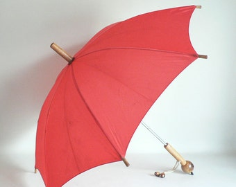 Red Rain Umbrella Parasol With Wood Handle