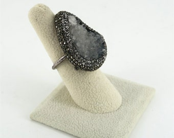 Drusy Quartz, Crystal, and Sterling Silver Ring
