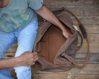 22 Inch Duffle Bag / Overnight Bag / Weekend Bag / Carry On Luggage / Sports Bag Genuine Rustic Real Leather Brown Leather by Ebb Flow