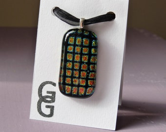 Glass Necklace - Dichroic Square pendant with black voile necklace
