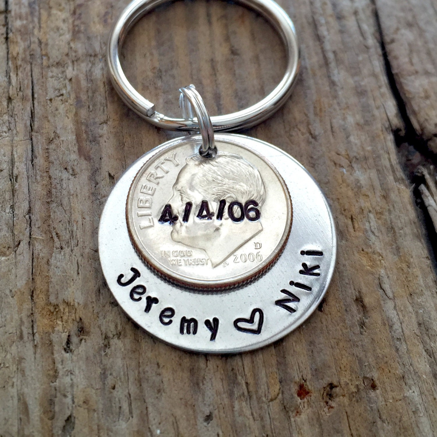 10 Year Anniversary Date Personalized Dime Keychain