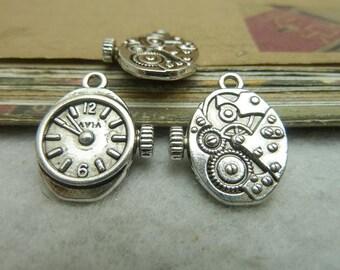 20 Clock Gear Charms Antique Silver Tone Clock Pendant - DYS7036
