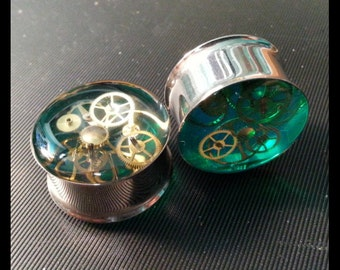 """7/8"""" (22mm) pair of double flare steampunk  plugs"""