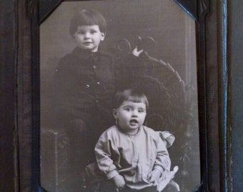 Lewis & Wolf Cabinet Card, Antique Photo, 2 Adorable Children, Folding Cardboard