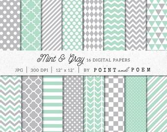 Mint Grey Digital Paper Pack, Mint Green Digital Scrapbook Paper Pack, Gray Chevron, Polka dot, Stripes, Geometric digital paper