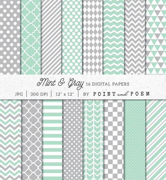 Geometric Digital Paper Pack Mint Green Digital Scrapbook