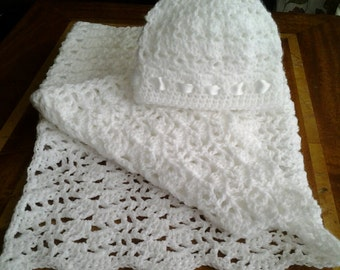 Irish Christening/Blessing/Special Occasion Crochet Blanket Shawl & Hat Set-handcrafted in Ireland