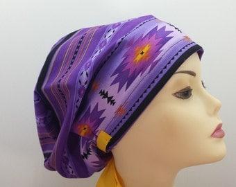 Women's surgical scrub hats, or scrub caps-Purple Transmuter Aztec