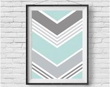 Abstract Print, Mint & Gray Print, Chevron Art, Geometric Print, Pattern Wall Decor, Downloadable Art, Mint Home Decor, Printable Poster