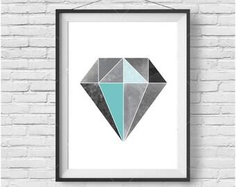 Diamond Print, Turquoise Art, Gray Print, Geometric Print, Geometric Diamond Art, Texture Print, Turquoise Decor, Scandinavian Art, Digital