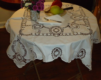 Vintage  ROMANTIC CROCHET LACE  and Embroidered Tablecloth, 36 inch Sq. Plus 4 Napkins,Tea Set, Today's Perfect Gift Tomorrow's Heirloom