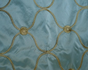 Aqua Taffeta, Embroidered Fabric  Antique , Sold by the Yard