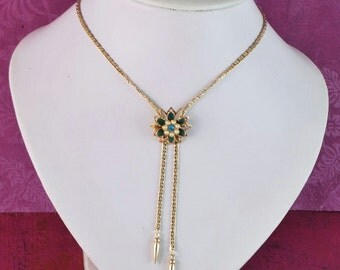 Vintage Lariat Necklace/Pin Green Enamel & Rhinestone Flower