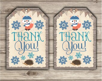 Woodland Winter Thank You Tags Birthday Gift Tags first birthday Fox Tags Woodland Forest Animal boy Through the Woods Snowflakes blue