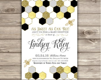 Mom to Bee Baby Shower Invitations Grey and Gold Faux Glitter Honey Bee Geometric Invitation Boy or Girl Gender Neutral Bumble NV7631