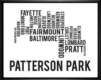 Patterson Park Baltimore Neighborhood Street Print