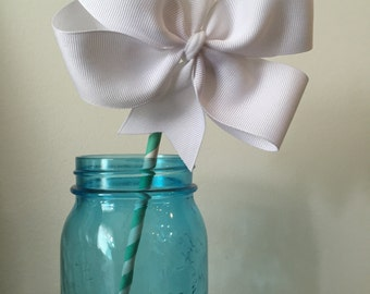 White Pinwheel hair bow clip