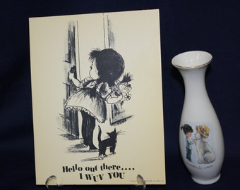Moppets Fran Mar Greeting Cards Cardboard Stand Up Postcard and Porcelain Vase