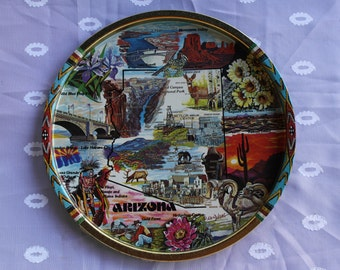 Arizona Souvenir Serving Tray Metal Round