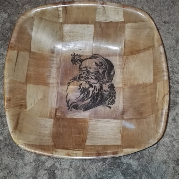 SANTA FATHER CHRISTMAS laser engraved bamboo bowl