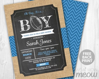 Football Baby Shower Invitation Blue It's a Boy Invite Ball INSTANT DOWNLOAD Rugby Sports Personalize Digital Party Editable & Printable