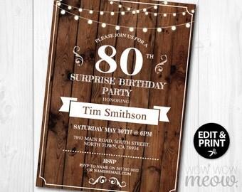 Surprise 80th Birthday Invitations Rustic Wood String Lights INSTANT DOWNLOAD Eighty Womens Mens Digital Vintage Cheers Printable & Editable