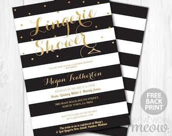 Lingerie Shower Invitation Black White Gold Stipe Heart Invite INSTANT DOWNLOAD Bridal Shower Digital Party Personalize Editable Printable