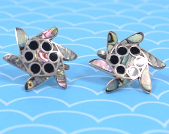 Vintage, Signed Pricilla Apachito, Navajo, Sterling Silver and Abalone,Screw On Back Earrings
