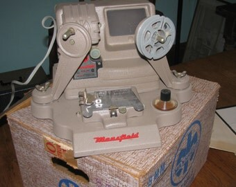 Mansfiels model 950 8mm movie Editor in Box, Portable Action Editor