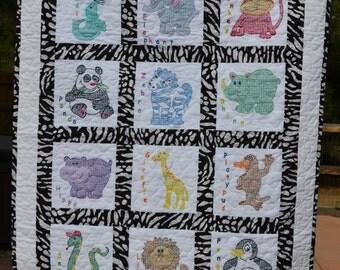 Cross Stitche Zoo Animal Baby Quilt