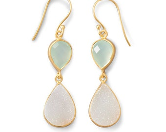 Earrings with Green Chalcedony and Druzy