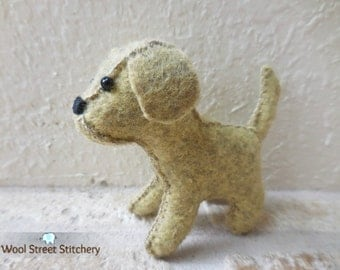 Felt stuffed puppy, small felt dog, stuffed animal dog, dog soft toy