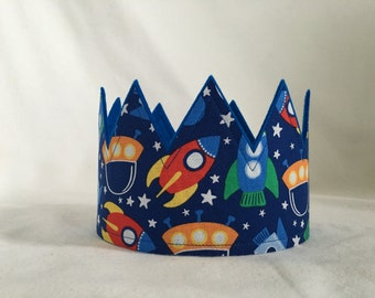 Rocket ship Crown, Space ship Crown, Outer space birthday party, Rocket Ship Birthday Party crown, Rocket Ship Party Hat, Rocket Ship Theme