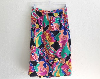 vintage colorful skirt / graphic / abstract / midi / silk / modern / 10