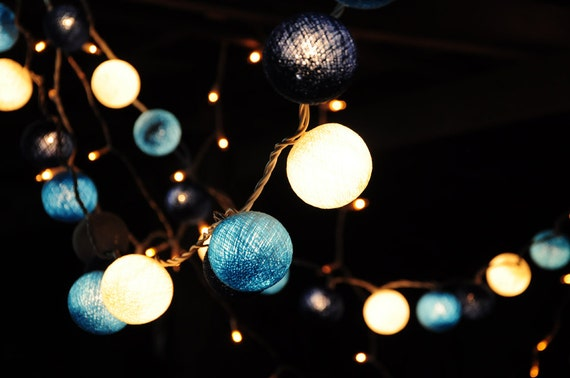 String Lights Dining Room : Cotton ball string lights LED Battery Lights by leelavadeelights