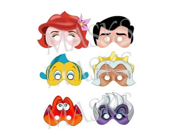 MASKS /masques to print Little Mermaid Disney DIY Birthday party photo booth prop anniversary Printable digital digital instant download